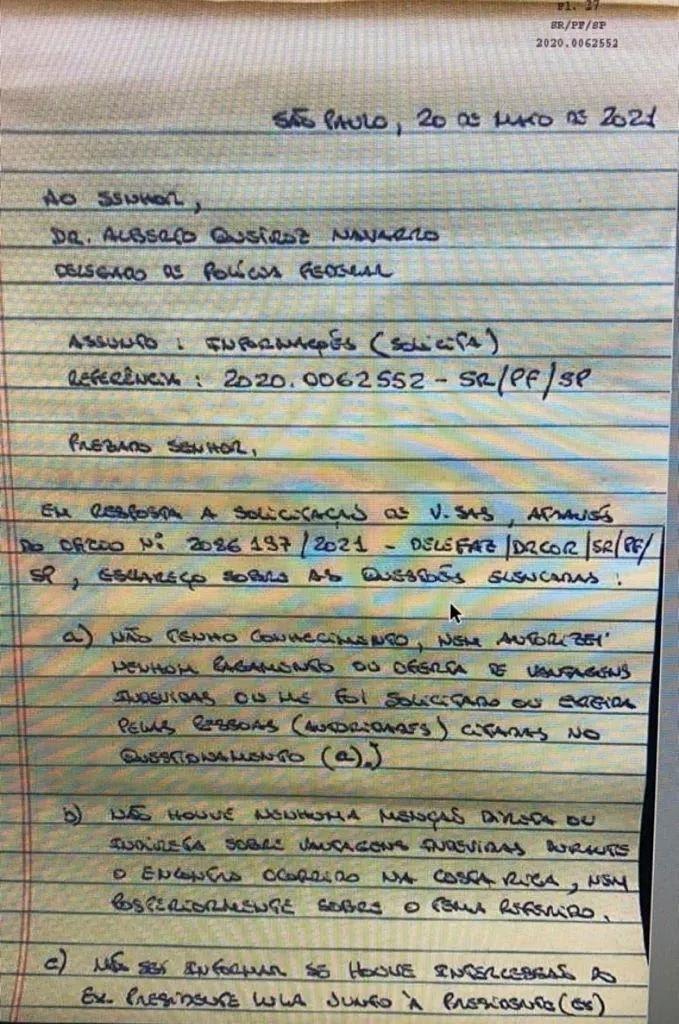 Reprodução do início da carta de Léo Pinheiro
