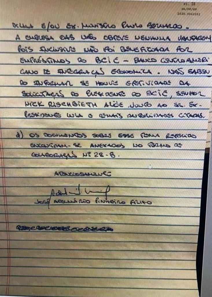 Reprodução do fim da carta de Léo Pinheiro