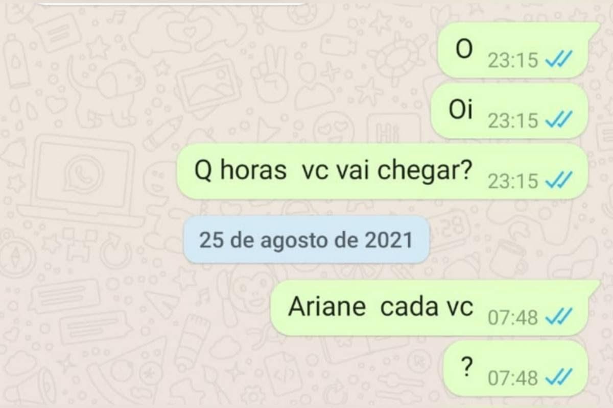 últimas mensagens enviadas por ariane bárbara, vítima de assassinato cometido por amigos em goiânia
